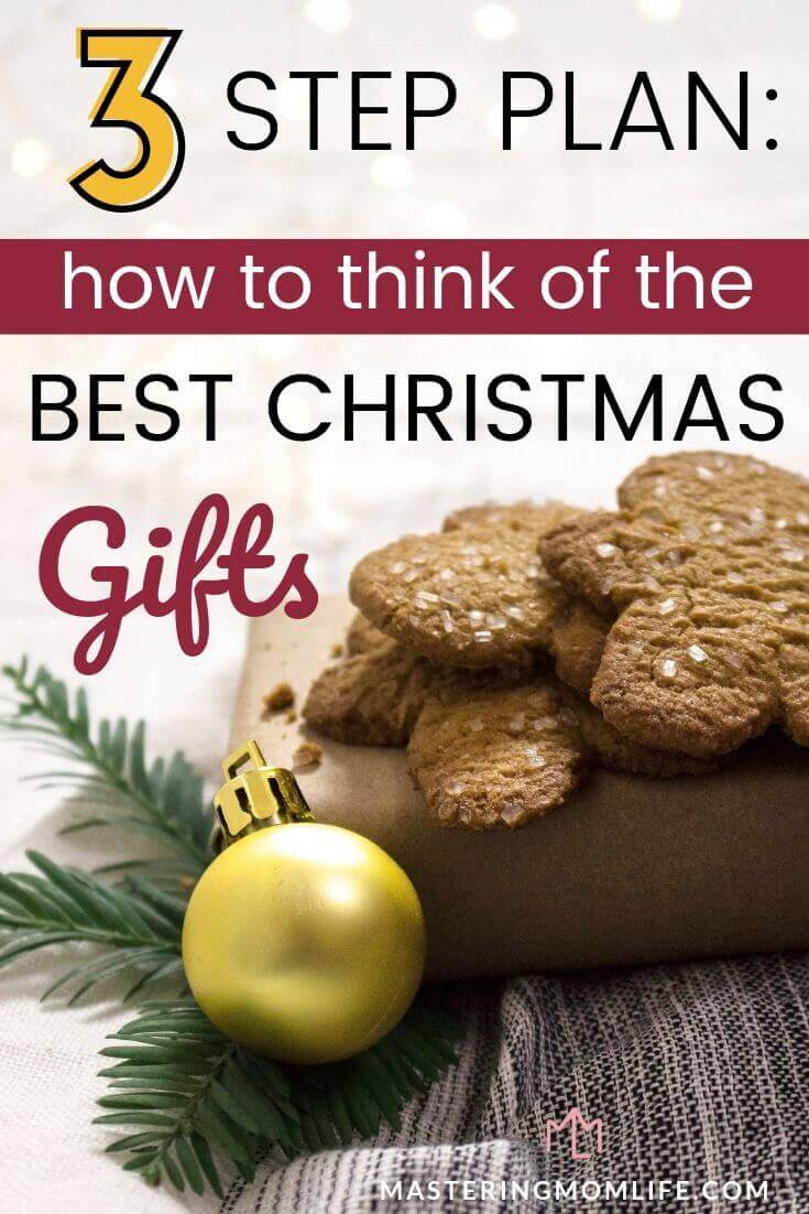 Image of Gingerbread cookies and present that reads: 3 step plan: how to think of the best Christmas gifts