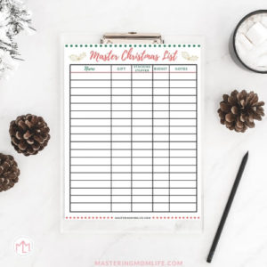 Master Christmas List - Family Christmas Gifts
