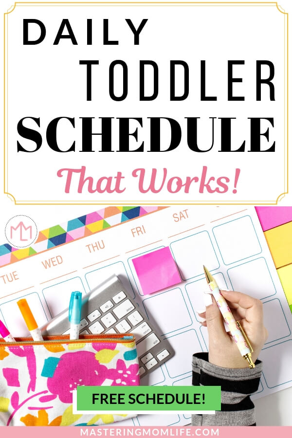 Daily Toddler Schedule That Works | Image of calendar, keyboard, color sticky notes, and women writing.