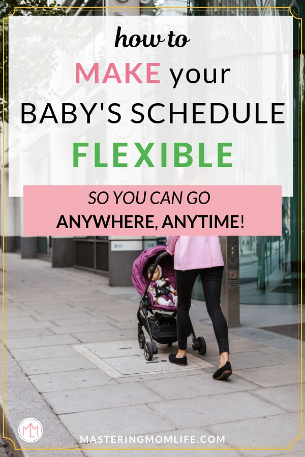 How to make a structured but flexible baby schedule | Image of mom pushing stroller outside