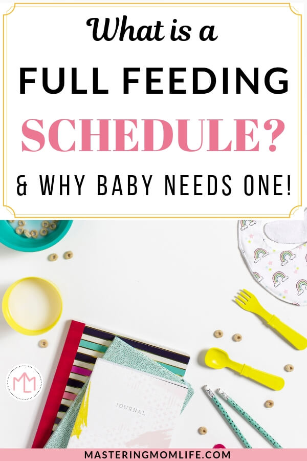 What is a full feeding? | Image of baby food and baby utensils and a bib