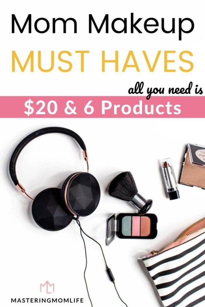 Mom makeup must haves: image of table with makeup and bag