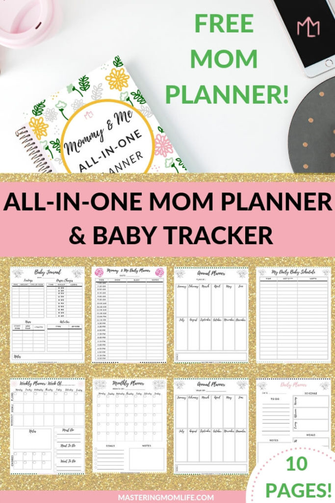 Free Mom Planner to help you plan your schedule PLUS track your baby's feedings and naps and naps all in one place! The Free Mommy & Me All in One Planner is a mom and baby planner designed to help you master your stay at home mom schedule and to-do list all while keeping your baby on a schedule and routine. #momlife #babytips #freeplanner