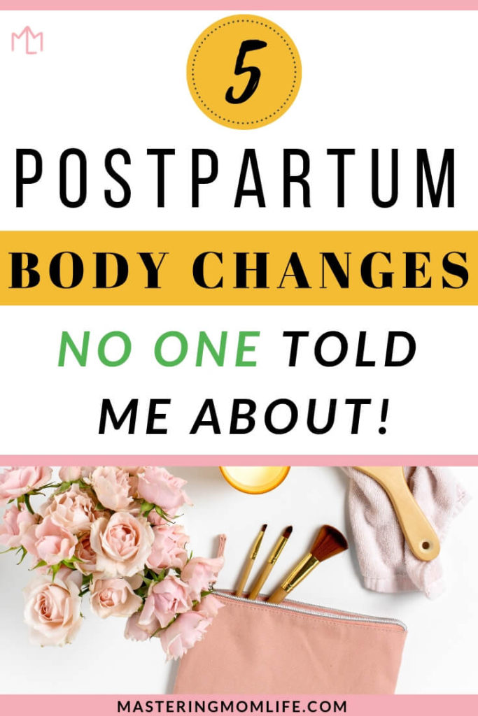 Postpartum Body Changes No One Told me About | Image of flowers, brushes, and candle on desk.