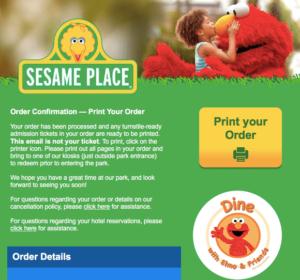Sesame Place Ticket