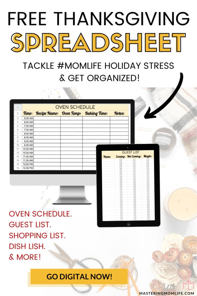 Free Thanksgiving Spreadsheet Digital Planner