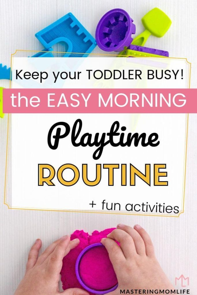 Keep your toddler morning busy with this easy playtime routine: image of kid playing with dough